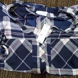 3/4 plaid button up shirt